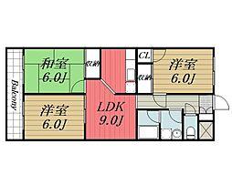 JR総武本線 四街道駅 バス7分 鹿放ケ丘遠近下車 徒歩6分の賃貸アパート 2階3LDKの間取り