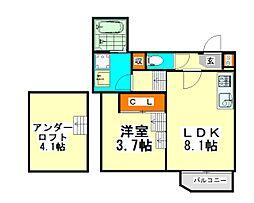 愛知県名古屋市北区志賀町1丁目の賃貸アパートの間取り