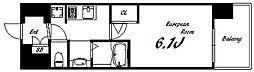 エステムコート三宮EASTIVザ・フロント 10階1Kの間取り