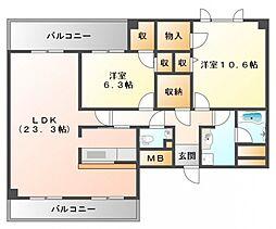 ハーヴェスタ江坂[14階]の間取り