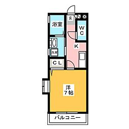 ピュアドームエタージュ箱崎[7階]の間取り