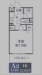 サニーメゾン[201号室]の間取り