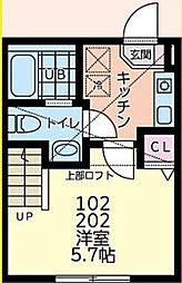 京王相模原線 橋本駅 徒歩14分の賃貸アパート 2階1Kの間取り