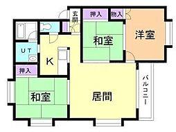 シャルム沢田B[3階]の間取り