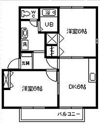 愛知県安城市箕輪町東山の賃貸アパートの間取り