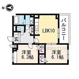 JR東海道・山陽本線 長岡京駅 バス22分 菱川町下車 徒歩7分の賃貸アパート 3階2LDKの間取り
