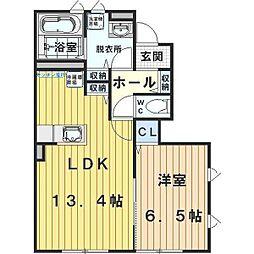埼玉県川越市下新河岸の賃貸アパートの間取り