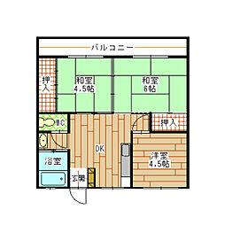 福岡県北九州市小倉北区片野新町2の賃貸マンションの間取り