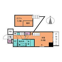 エステムコート名古屋栄デュアルレジェンド[2階]の間取り