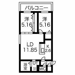 癒禅32 4階2LDKの間取り