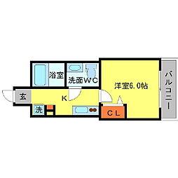 Osaka Metro堺筋線 北浜駅 徒歩5分の賃貸マンション 8階1Kの間取り
