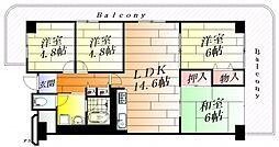 ユニハイム千里丘II1号棟[2階]の間取り