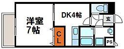 JR鹿児島本線 赤間駅 徒歩3分の賃貸マンション 3階1DKの間取り