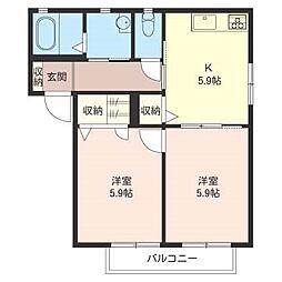 ロコ・カネッサ E[2階]の間取り
