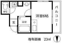 スタシオン梅田イースト 4階1Kの間取り