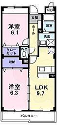 南海高野線 萩原天神駅 徒歩3分の賃貸マンション 1階2LDKの間取り
