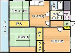 サンコスモス京良城[4階]の間取り