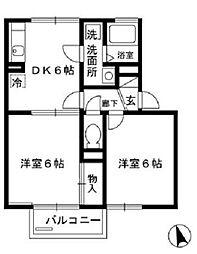 千葉県千葉市緑区おゆみ野南1の賃貸アパートの間取り