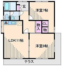 神奈川県横浜市港北区高田東3丁目の賃貸マンションの間取り