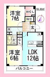 JHアンモード イグサ2[新築ペット可D-ROOM・駐車場1台付][2階]の間取り