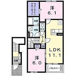 JR鹿児島本線 福間駅 バス15分 津屋崎小学校前下車 徒歩14分の賃貸アパート 2階2LDKの間取り