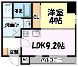 仙台市地下鉄東西線 青葉通一番町駅 徒歩8分の賃貸マンション 8階1LDKの間取り