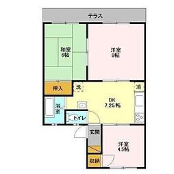 千葉県松戸市六高台3丁目の賃貸アパートの間取り