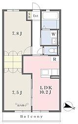リーベ別府 3階2LDKの間取り