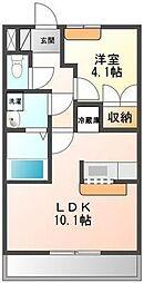 埼玉県鶴ヶ島市下新田の賃貸アパートの間取り