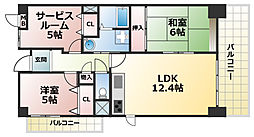 ポナールヴィラ六甲[5階]の間取り