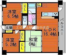岡山県倉敷市幸町丁目なしの賃貸マンションの間取り