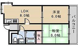 グロー駒川中野[805号室]の間取り