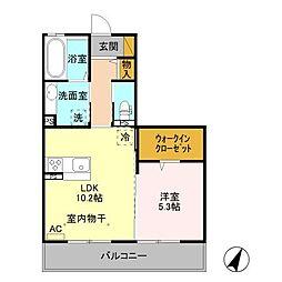 上田電鉄別所線 赤坂上駅 徒歩3分の賃貸マンション 2階1LDKの間取り