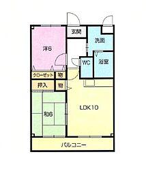 マンション紫雲D棟[1階]の間取り