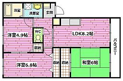 広島県広島市安芸区畑賀2の賃貸マンションの間取り