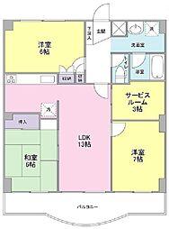 東京都小平市天神町2丁目の賃貸マンションの間取り