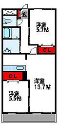 福岡県宗像市ひかりヶ丘6丁目の賃貸アパートの間取り