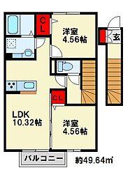 ゆららIII 2階2LDKの間取り