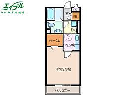 近鉄名古屋線 霞ヶ浦駅 徒歩20分の賃貸アパート 1階1Kの間取り