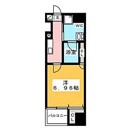グランカーサ上野入谷 6階1Kの間取り