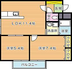 福岡県北九州市八幡西区日吉台2丁目の賃貸アパートの間取り