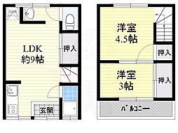 東新町3丁目テラス 1階2LDKの間取り