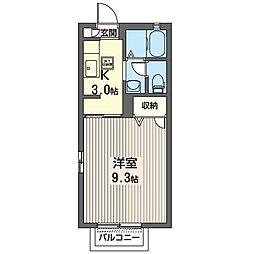 ソフィアコート 2階1Kの間取り