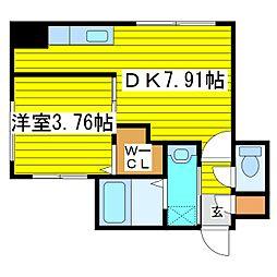 札幌市営東豊線 東区役所前駅 徒歩8分の賃貸マンション 4階1DKの間取り