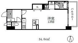 インペリアル新神戸 8階1Kの間取り