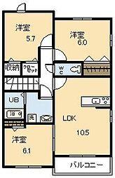 宮崎県宮崎市大和町の賃貸アパートの間取り