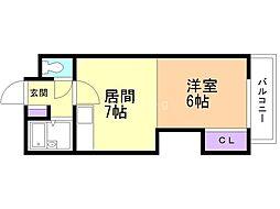 ノールアベニュー14 3階1DKの間取り