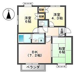 レヴンワースA[1階]の間取り