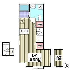 Brick×Shell 2階ワンルームの間取り