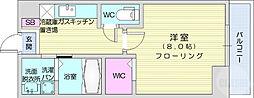 ウルス花京院A 2階1Kの間取り
